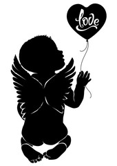 Silhouette baby angel with balloon love