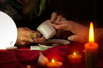 Coffee fortune telling by old gypsy fortune teller