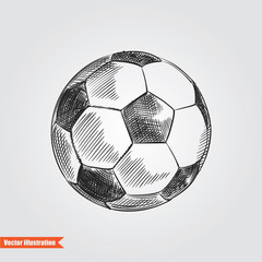 Ball for soccer or footbal hand drawn sketch isolated on white background. Sport item elemenets vector illustration