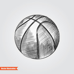 Ball for basketball  hand drawn sketch  isolated on white background. Sport item elemenets vector illustration