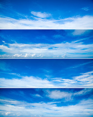 Set of different clouds blue sky images