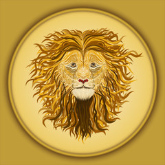 Lion with long wavy curls on the mane, in a circular gold frame