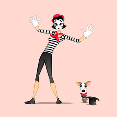Girl mime performance called behind the invisible wall