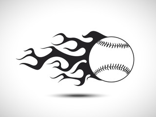 Baseball on Fire Logo. Fireball icon Vector Illustration. Sport Concept.
