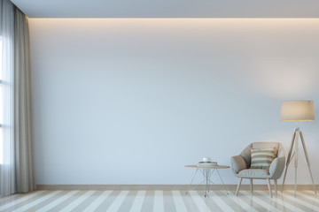 Modern white living room minimal style 3D rendering Image.There are white empty wall.Decorate room with light tone color and hidden light on ceiling