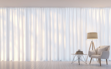 Modern white living room minimal style 3D rendering Image.There are decorate room with white translucent curtain and white leacher armchair