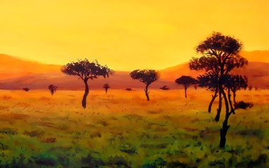 group of trees in vast african landscape, graphic color effect.