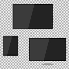 Set of realistic modern blank screen lcd, led, TV, monitor, pad on isolate background. Vector illustration