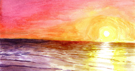 Sunset at the ocean in watercolor.