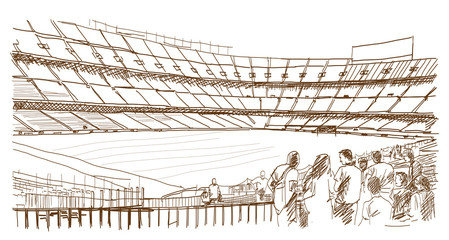 Sketch of Football stadium with people in vector illustration.