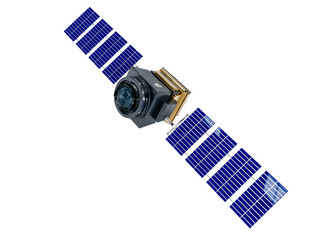 artificial satellite space telescope concept 3D rendering isolated on white