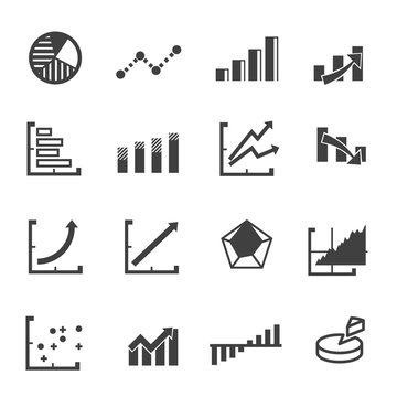business graph icon set vector