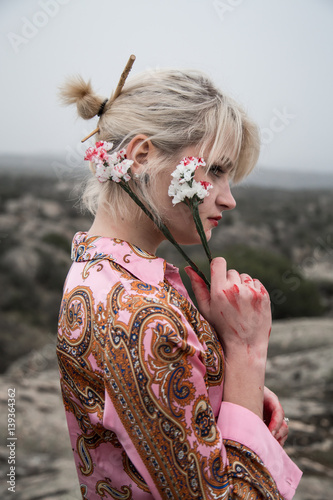 Very Pretty Russian Young Girl With Bloody White Flowers In The