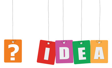 Cardboard hanging - vector colorful. Tags - idea.