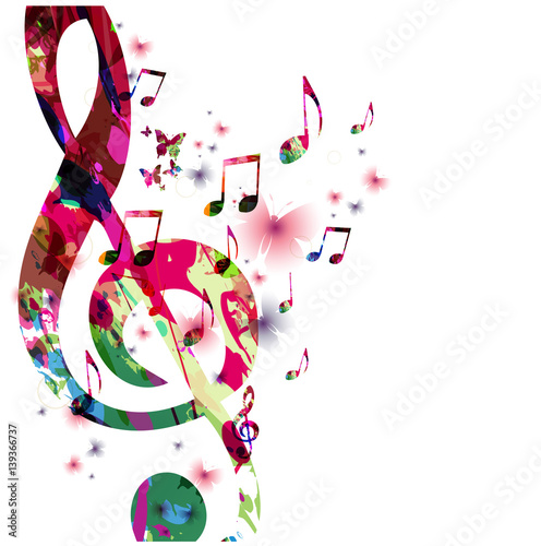 Quot Colorful Music Notes With Butterflies Isolated Vector