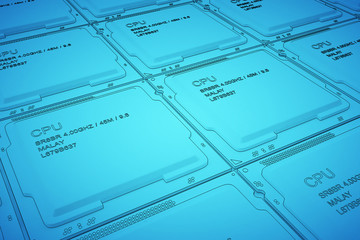 Engineer working on blue print, concept Processor Unit CPU, 3d rendering