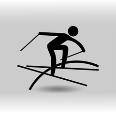 eps10 vector Freestyle Skiing Slopestyle sport icon. Winter sport activity pictogram for web, print, mobile. Black athlete sign isolated on gray. Hand drawn competition symbol. Graphic design clip art