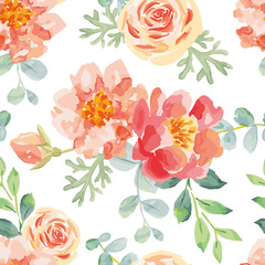 Pink roses and peonies with green leaves on the white background. Watercolor vector seamless pattern. Big romantic garden flowers.