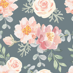 Pale pink roses and peonies with gray leaves on the dark gray background. Vector seamless pattern. Romantic garden flowers illustration. Faded colors.
