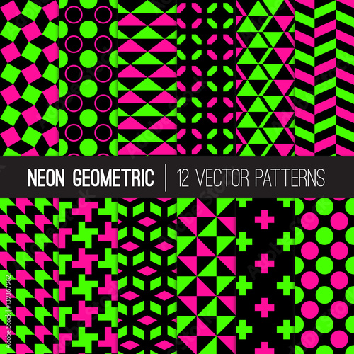 Classic Neon Colors Geometric Patterns Fluorescent Lime Green Hot