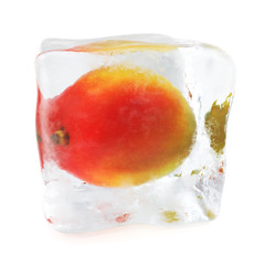 Mango frozen in ice cube, ice cube in front view, single ice cube isolated on white background. 3d rendering