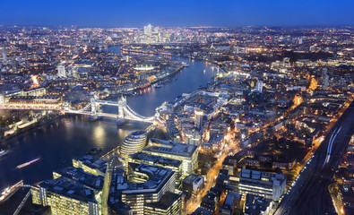Aerial view of London city with Tower Bridge, night scene