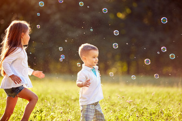Children with soap bubbles