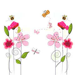 Spring time colorful flowers, bee, butterfly. Floral  background
