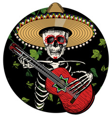 Sugar skull playing on Spanish guitar