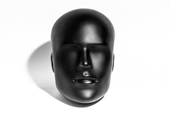 Black Mannequin Head Isolated on White