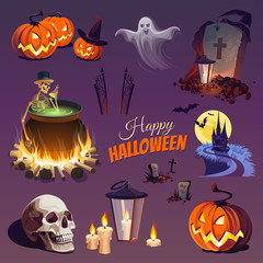 Сolorful Happy Halloween Elements and Objects for Design Projects