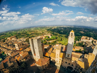 Panoramic view of San Gimignano landscape seen from old town tower in Tuscany, Italy