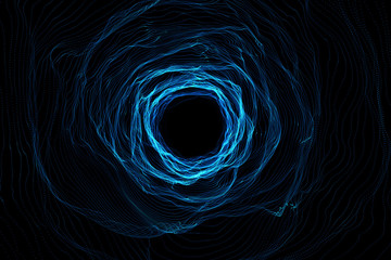 Cosmic wormhole, space travel concept, funnel-shaped tunnel that can connect one universe with another. 3d rendering