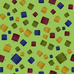 Colorful Shopping Paper Bag Seamless Pattern on Green Background