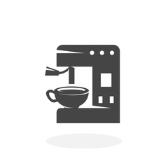 Coffee machine Icon. Vector logo on white background