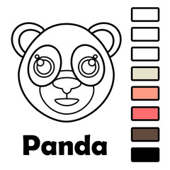 Coloring book for little kids with animals - panda. Using the color palette, ready for use when drawing.