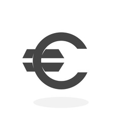 Euro Icon. Vector logo on white background
