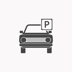 Park car icon illustration isolated vector sign symbol