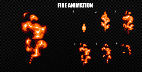 Vector explode. Explode effect animation with smoke. Cartoon explosion frames. Sprite sheet of explosion