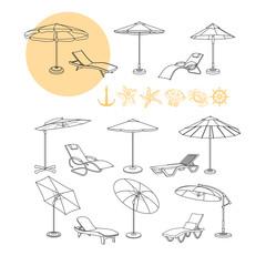Vector set of umbrella, deck chair icons, sea symbols.