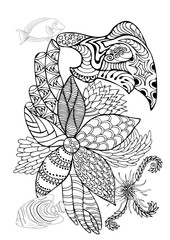 Hand drawn page in zendoodle style for adult coloring book. Abstract marine and floral motifs with coral fishes, seashells and seaweeds. Elements for design, prints, invitation cards.