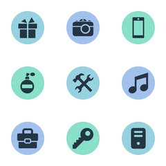 Set Of 9 Simple  Icons. Can Be Found Such Elements As Music, Mobile Phone, Fragrance And Other.