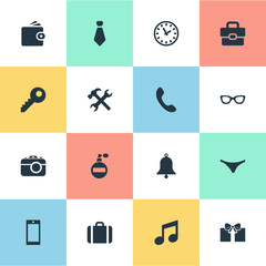 Set Of 16 Simple Instrument Icons. Can Be Found Such Elements As Briefcase, Ring, Password And Other.