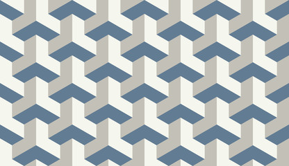Seamless light blue op art trilateral hexagonal pattern vector