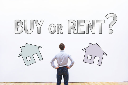 buy or rent concept, real estate question,  businessman making decision