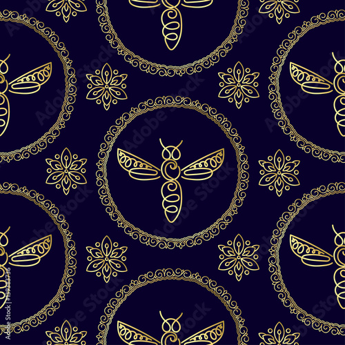 Seamless Pattern With Insect Bee Texture For Corporate Identity Packaging Luxury Brand Product