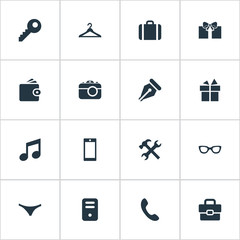 Set Of 16 Simple Accessories Icons. Can Be Found Such Elements As Hanger, Digital Camera, Password And Other.
