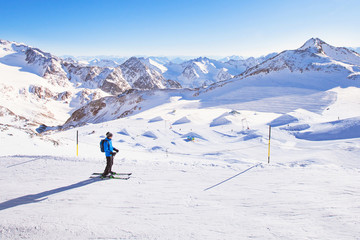 skiing downhill in mountains, winter holidays in Austria, Stubai
