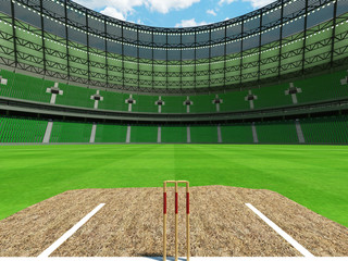 3D render of a round cricket stadium with green seats and VIP boxes