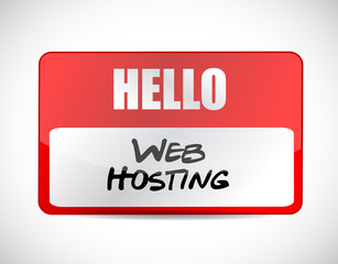 Web hosting name tag sign concept